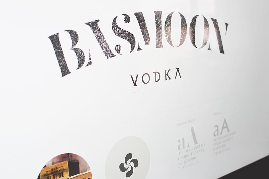 Conceptos de diseño de logotipo Basmoon Vodka