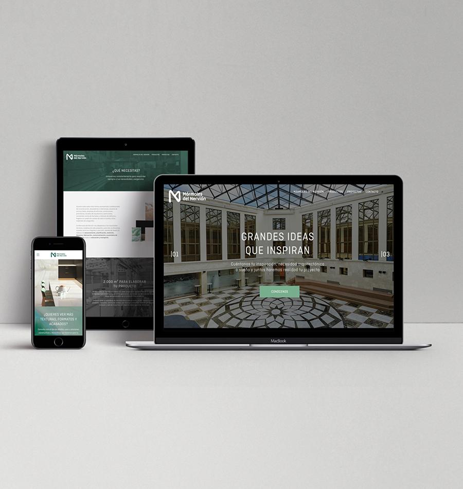 Diseño web para tablet y móvil de Mármoles del Nervión